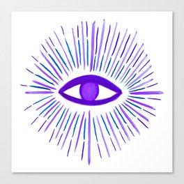 All Seeing Eye in Violet Purple Watercolor Canvas Print