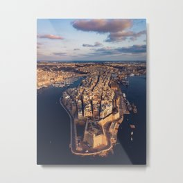 The Three Cities Senglea Malta | Aerial  Metal Print