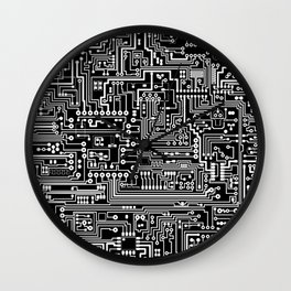 Circuit Board on Black Wall Clock