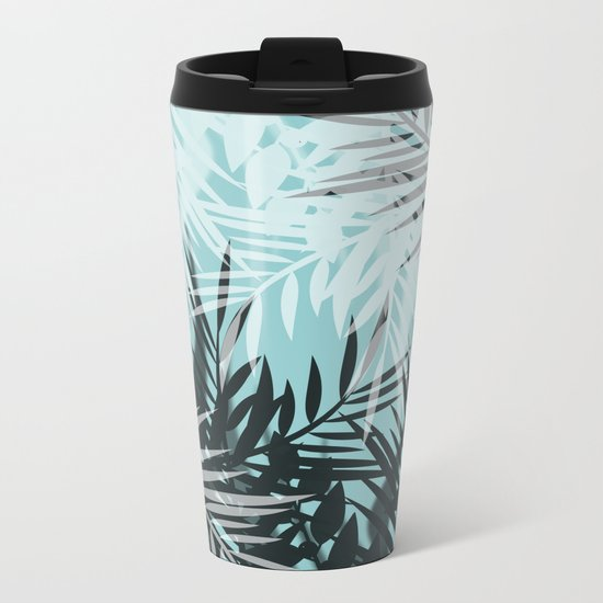 Tropical blue summer print palm leaves Metal Travel Mug