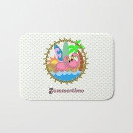 Summertime Flamingos Bath Mat