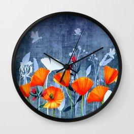 Summer night- Shadow of a Poppy meadow- Flowers Wall Clock