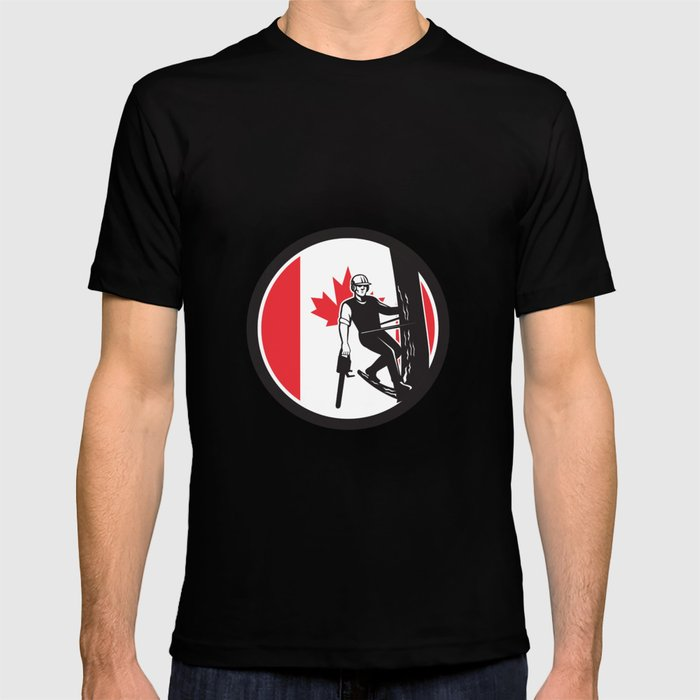 Canadian Tree Surgeon Canada Flag Icon T-shirt
