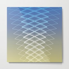 Grid on Sunrise Metal Print