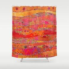 Firewalk Abstract Art Collage Shower Curtain