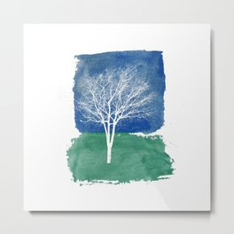 White Tree Watercolor Painting Metal Print