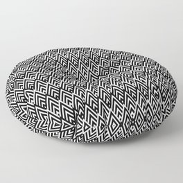 Art Deco Triangle - Black Floor Pillow