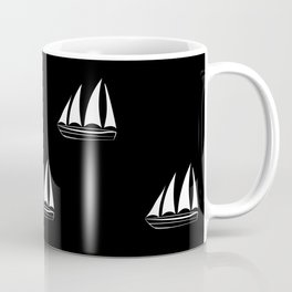White Sailboat Pattern on black background Coffee Mug