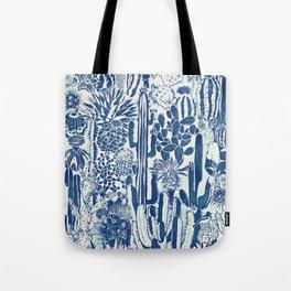 Indigo cacti II Tote Bag
