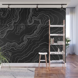 Black topography map Wall Mural