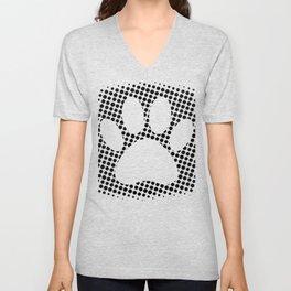 Dog Paw Print With Halftone Background Unisex V-Neck