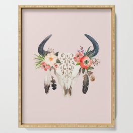 Floral bohemian watercolor animal stag head skull peach pink spiritual boho home wall decor Serving Tray