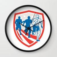 crossfit Wall Clocks featuring American Crossfit Runners USA Flag Retro  by patrimonio