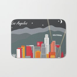 Los Angeles, California - Skyline Illustration by Loose Petals Bath Mat