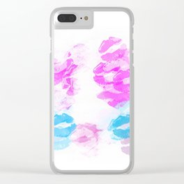 kisses lipstick pattern abstract background in pink and blue Clear iPhone Case