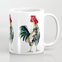 rooster Mugs featuring Rooster by Bridget Davidson