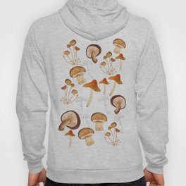mushroom pattern watercolor painting Hoody