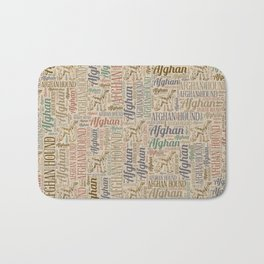 Afghan Hound silhouette and word art pattern Bath Mat