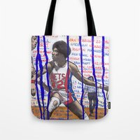 nba Tote Bags featuring NBA PLAYERS - Julius Erving by Ibbanez