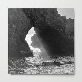 Sunrays Through The Arch. Del Medio Beach. At Sunrise. Bw Metal Print