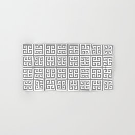 Greek Key pattern - Greek fret design , grey, white Hand & Bath Towel