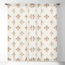 Fleur de lis Pattern – Neutral Brown and Biege Earth Tones Blackout Curtain