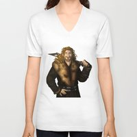 fili V-neck T-shirts featuring Fili in Red by wolfanita