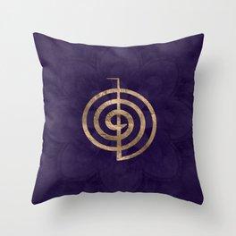 Cho Ku Rei - gold on purple lotus Throw Pillow