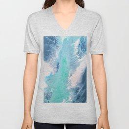 Blue Fluid Painting Waves Fluid Acrylic Abstract Unisex V-Neck