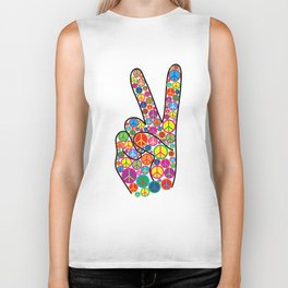 Cool Colorful Groovy Peace Sign and Symbols Biker Tank
