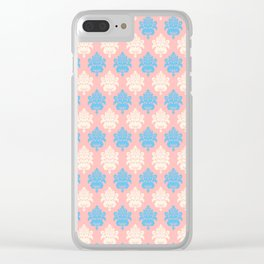 Vintage pastel coral blue ivory floral damask pattern Clear iPhone Case