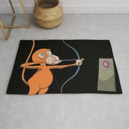 Monkey tries archery Rug