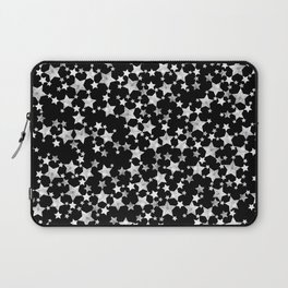 Hand Printed Black and White Stars Laptop Sleeve
