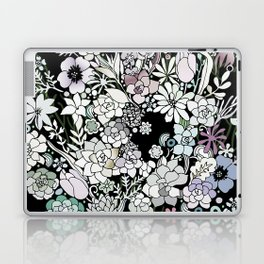 Colorful black detailed floral pattern Laptop & iPad Skin