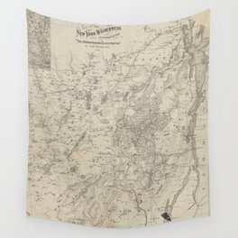 Vintage Map of The Adirondack Mountains (1874) Wall Tapestry