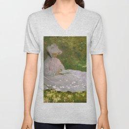 Monet, Springtime, 1872, oil on canvas Unisex V-Neck