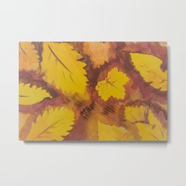 Yellow Autumn Leaf and a red pear painting Fall pattern inspired by nature colors Metal Print