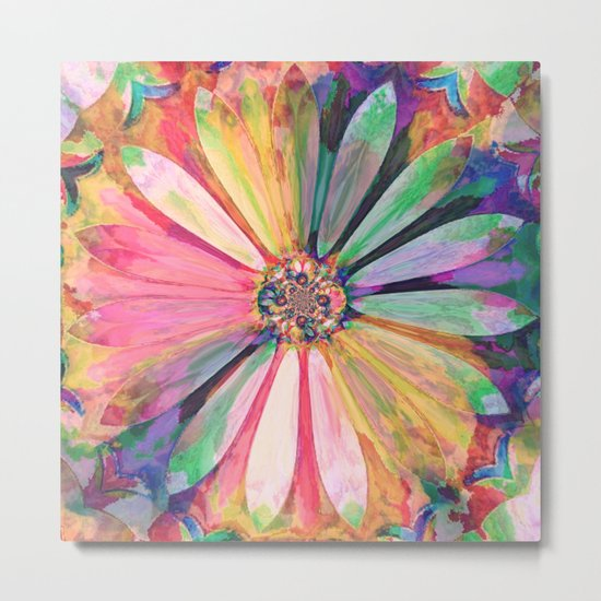 Abstract Colorful Daisy 3 Metal Print