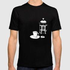 Coffee Break Black MEDIUM Mens Fitted Tee