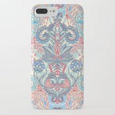 Botanical Geometry - nature pattern in red, blue & cream Slim Case iPhone 7 Plus