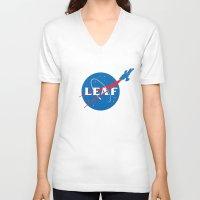 leaf V-neck T-shirts featuring LEAF by geekchic