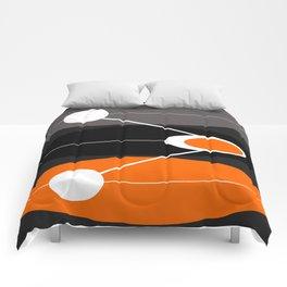 Orange, black, and gray Mid Century Modern Print Comforters
