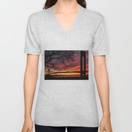Sunrise at the Bridge Unisex V-Neck