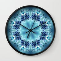 snowflake Wall Clocks featuring Snowflake by Mr. Pattern Man