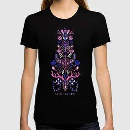 La Vie & La Mort – Pink & Periwinkle on Black T-shirt
