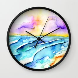 violet clouds - beach at sunset Wall Clock