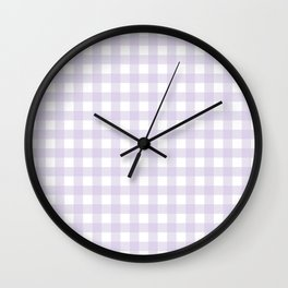Lilac gingham pattern Wall Clock
