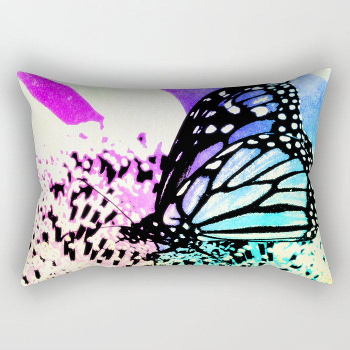 Beautiful Butterfly Sitting on a Flower with Colorful Background Rectangular Pillow