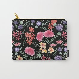 Bright flowers on a black background. Carry-All Pouch