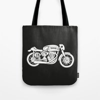 cafe racer Tote Bags featuring Norton Model 30 - Cafe Racer series #2 by Daniel Feldt